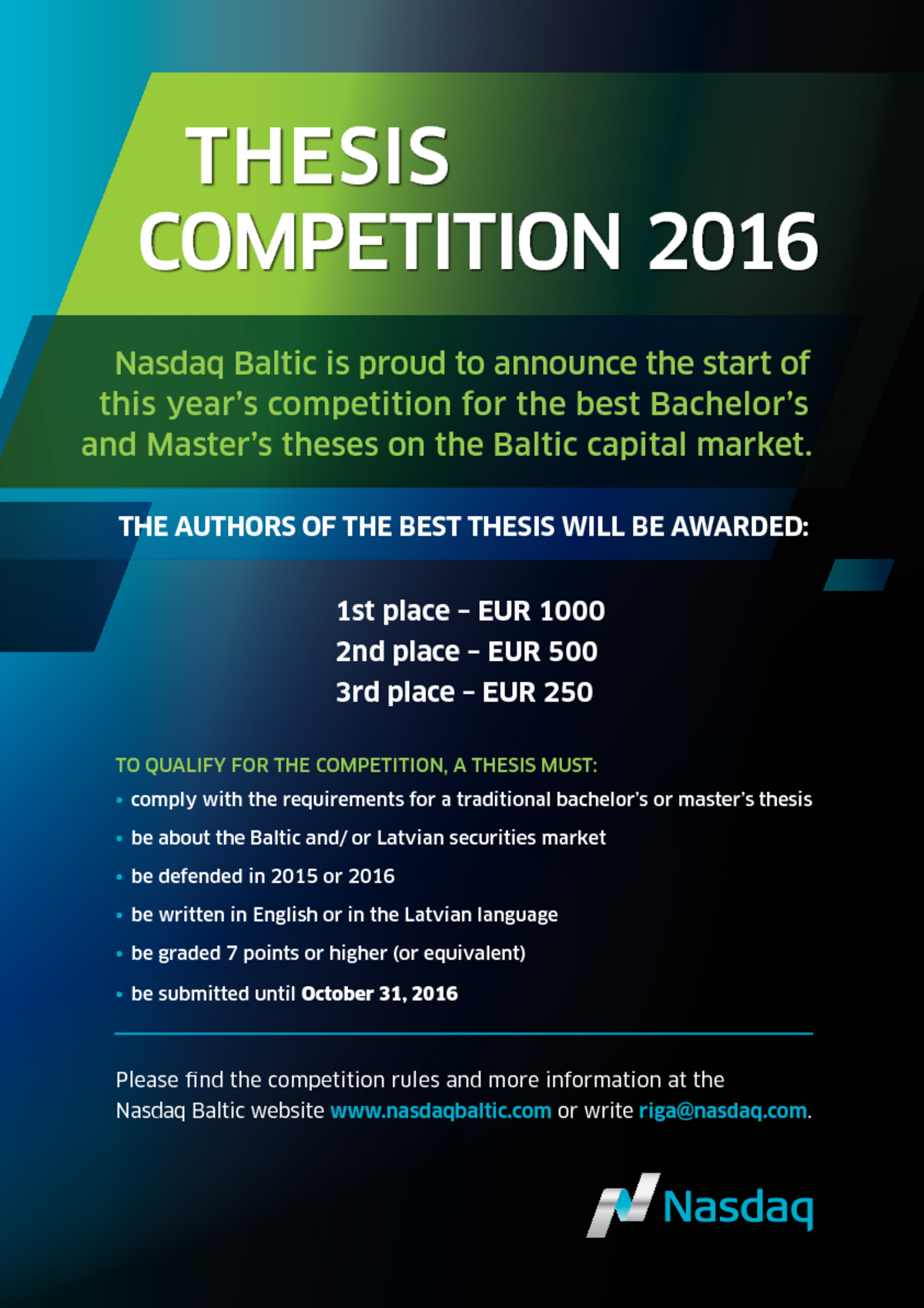 nasdaq baltic thesis competition